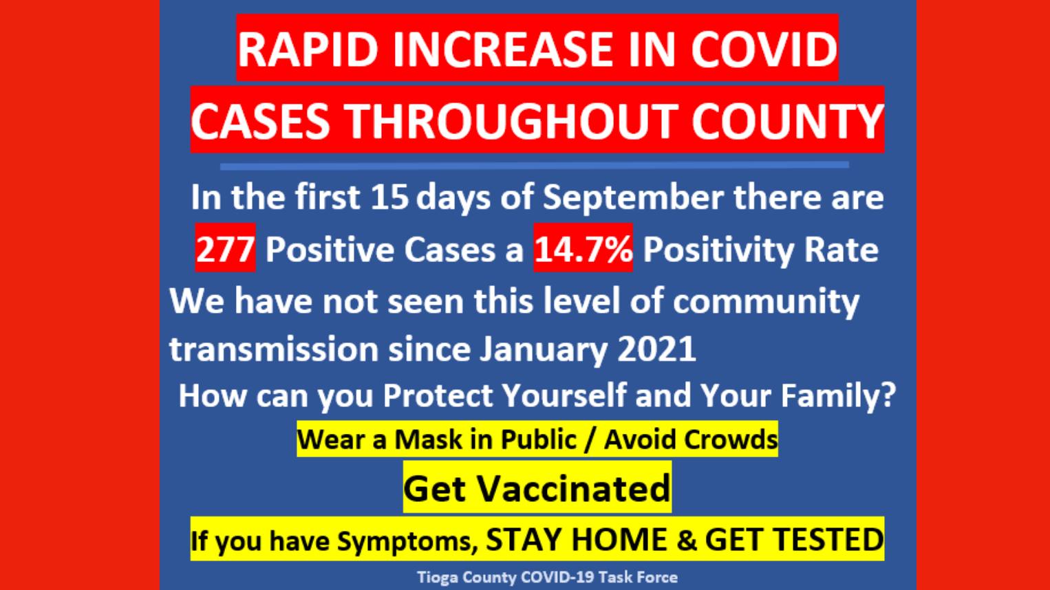 RAPID INCREASE IN COVID ALERT – FROM TIOGA COUNTY COVID-19 TASK FORCE